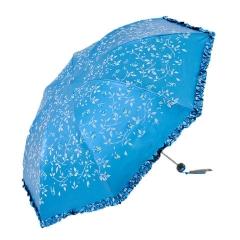 天堂伞 三折晴雨伞黑涤彩胶太阳伞防紫外线防晒折叠雨伞 33236E